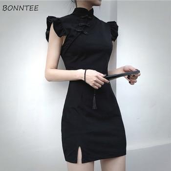 Vestido corto femenino de verano con cuello chino y muescas, minivestido Sexy con muescas para Mujer, Harajuku, ajustado, color negro