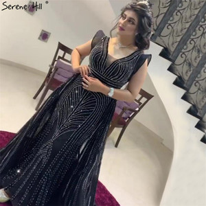 Image 5 - Dubai Deep V Sexy Prom Dresses 2019 Sleeveless Crystal Luxury Mermaid Prom Gowns Design Serene Hill DLA70198