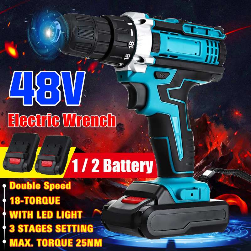 3 In 1 Cordless Electric Drill Screwdriver 48V 18 Gear Torque 2 Speed Mini Power Driver with 2 Rechargeable Battery