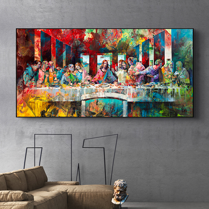 Pinturas de arte de Graffiti Last Super de Da Vinci, reproducciones de arte clásico de pared, Impresión de lienzo cristiano para decoración del hogar