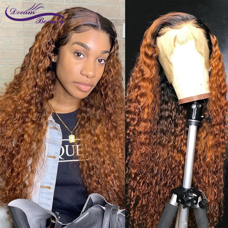13*4Lace Front Human Hair Wigs With Baby Hair 180Density Wig Medium Ratio Brazilian Curly Human Hair Wig Dream Beauty