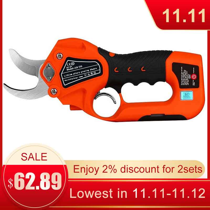 Cordless Pruning Shears Tree Cutter Protable 6 Lithium Battery 1 2 Inches Cutting Diameter Garden Electric Tree Pruning Tools
