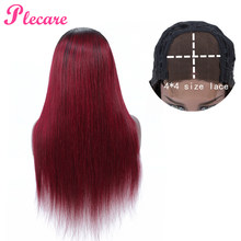 Plecare 4*4 Human Hair Wigs T1B-99J Lace Closure Human Hair Wigs For Black Women Straight Brazilian Non Remy(China)