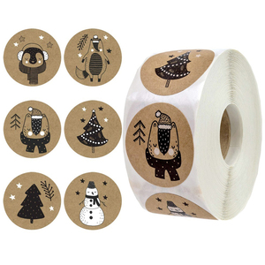 500 Pcs/Roll Happy Christmas Day Animal Stickers 6 Christmas Label Gift Box Decoration Family Sticker