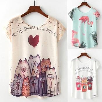 Artguy Summer New Women T Shirt Harajuku Kawaii Cute Animal Nice Cat Unicorn Print T-shirt Causal O-Neck Short Sleeve Loose Tops