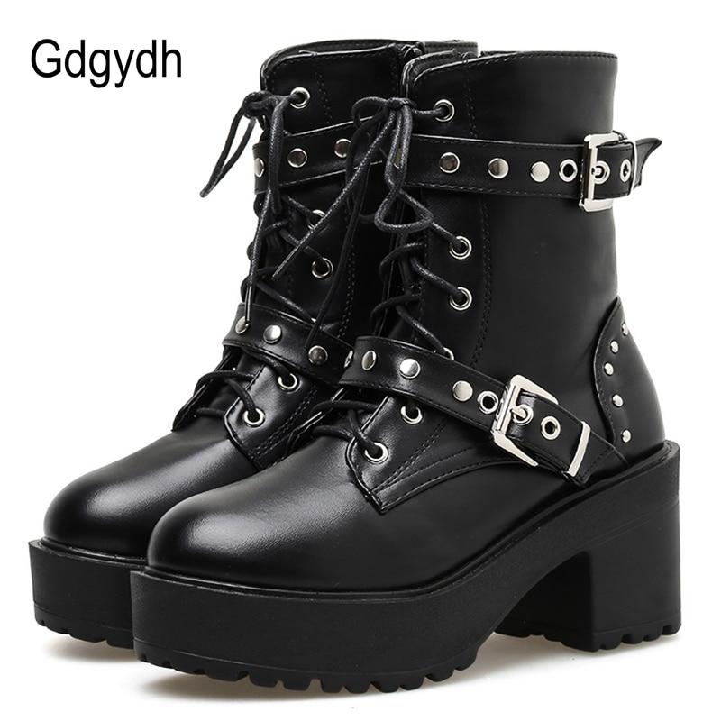 Women/'s Punk Gothic Ankle Boots Buckle Belt Rivet Studded Combat Booties Shoes