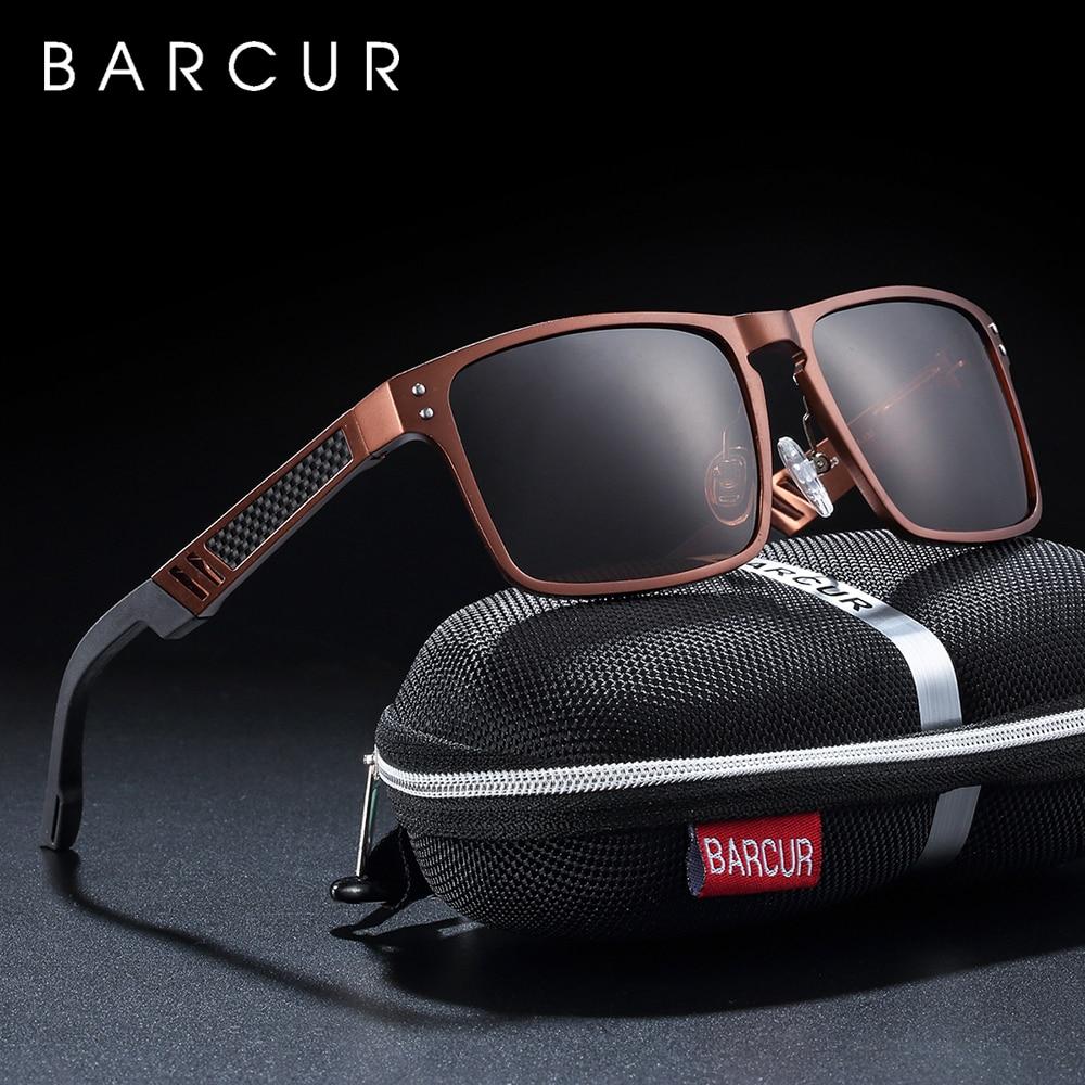 BARCUR Tendências Estilos Homens Quadrado De Vidro de Alumínio E Magnésio Óculos Polarizados óculos de Sol para Homens Esporte Eyewear oculos de sol