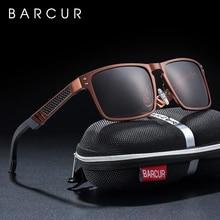 BARCUR Trending Styles Aluminium Magnesium Glass Square Men Sunglasses Polarized Sun glasses for Men Sport Eyewear Oculos de sol