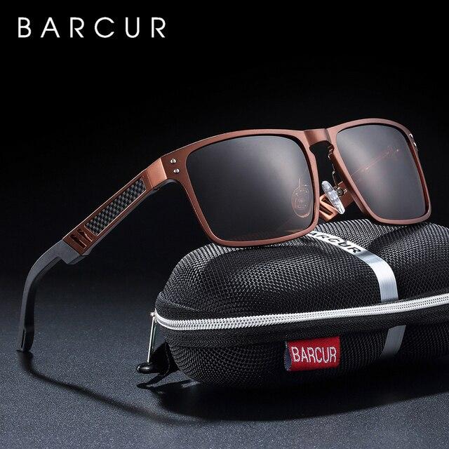 BARCUR gafas De Sol cuadradas De aluminio y magnesio para hombre y mujer, lentes De Sol polarizadas Estilo Vintage, deportivas