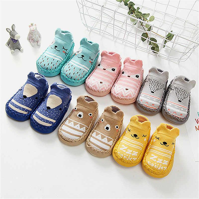 Модные детские носочки с резиновой подошвой, носки для новорожденных, Осень-зима, детские носки-тапочки, противоскользящая обувь, мягкие дешевые вещи