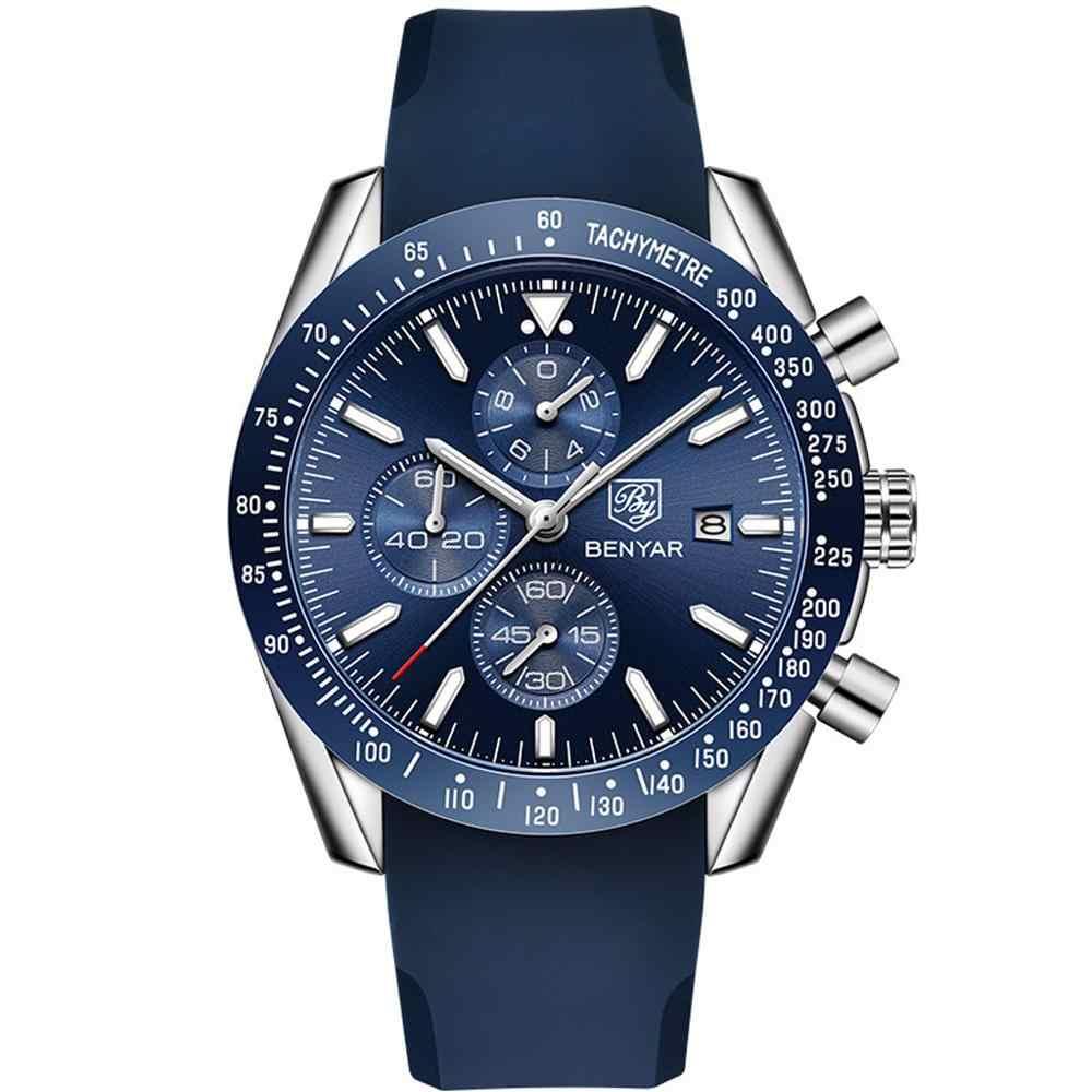 BENYAR erkekler kol saati iş silika jel için kuvars Casual su geçirmez spor erkek izle adam Reloj Hombre 2019 relogio masculino