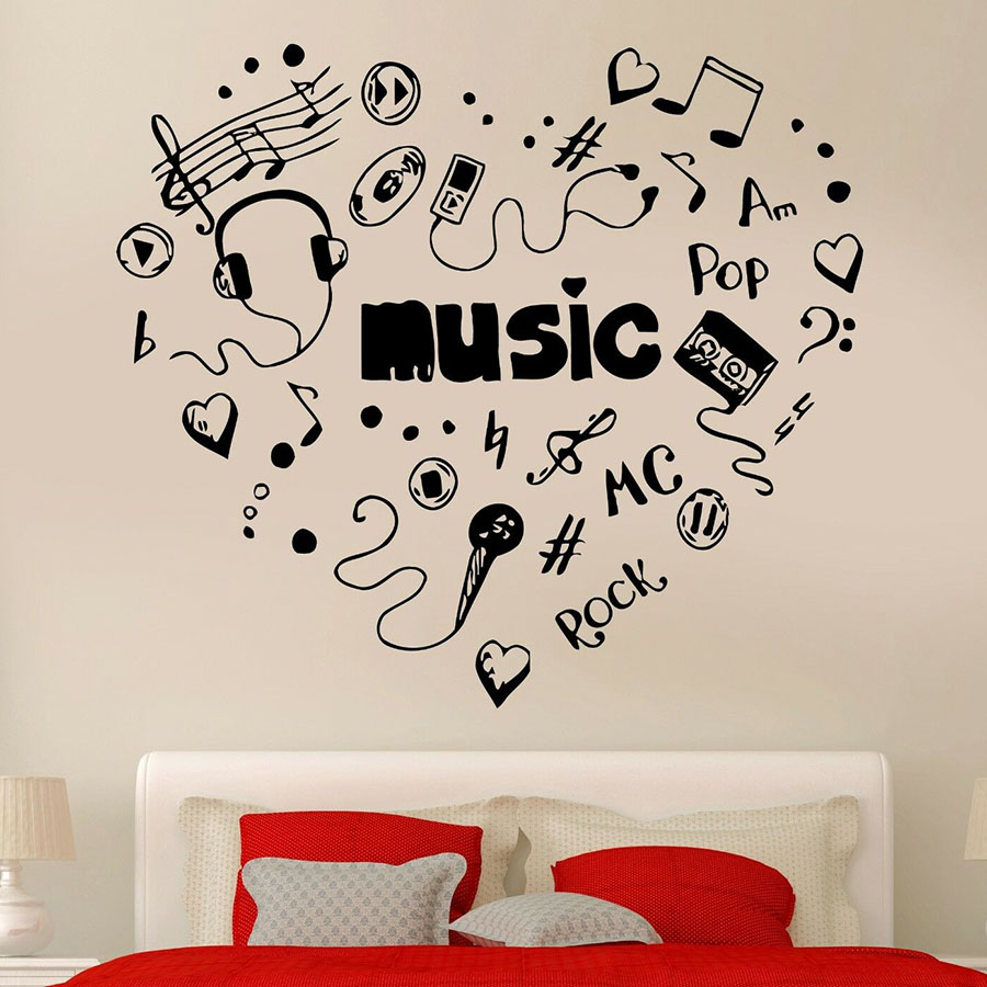 Music Heart Wall Decal Words Headphones CD Cool Rock Pop Song Vinyl Window Stickers Bedroom Music Studio Interior Decor M948 image