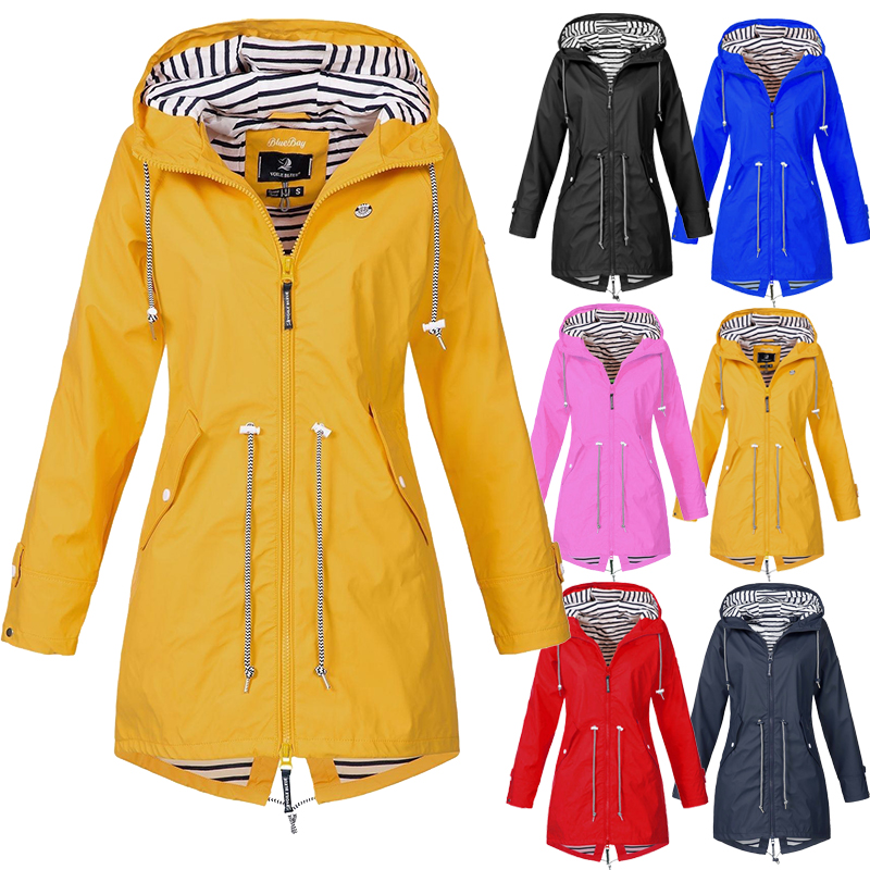 Plus Size Women's Rain Jacket Hooded Raincoat Outdoor Camping Hiking Waterproof Jacket Rainwear Poncho Size S 5XL|Hiking Jackets| |  - title=