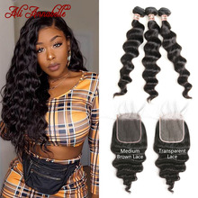 Bundles Closure Loose Wave ANNABELL Brazilian Hair-Weave Brown Transparent ALI with Medium