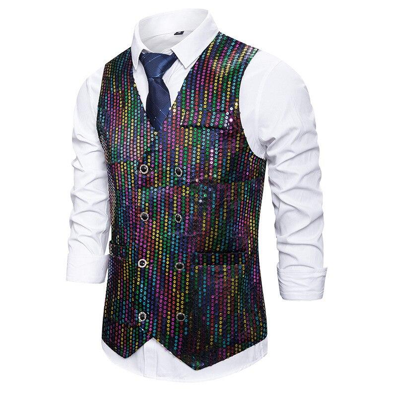 New Fashion Casual Men's Sequins Suit Vest Singer Vest Ceremonial Vest Costume