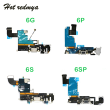 Charger Charging Port Flex Cable For iphone 6G 6 Plus 6S 6S Plus USB Dock Connector +Headphone Audio Jack Replacement Parts цена и фото