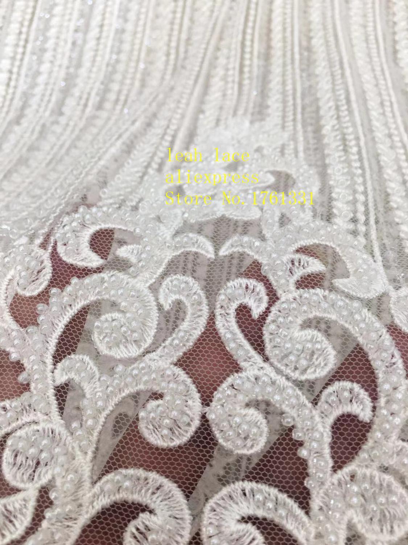 5 yards/sac blanc broderie paillettes bricolage perles style euraméricain tissus de luxe utilisés dans la conception de la robe de mariée FH10 #