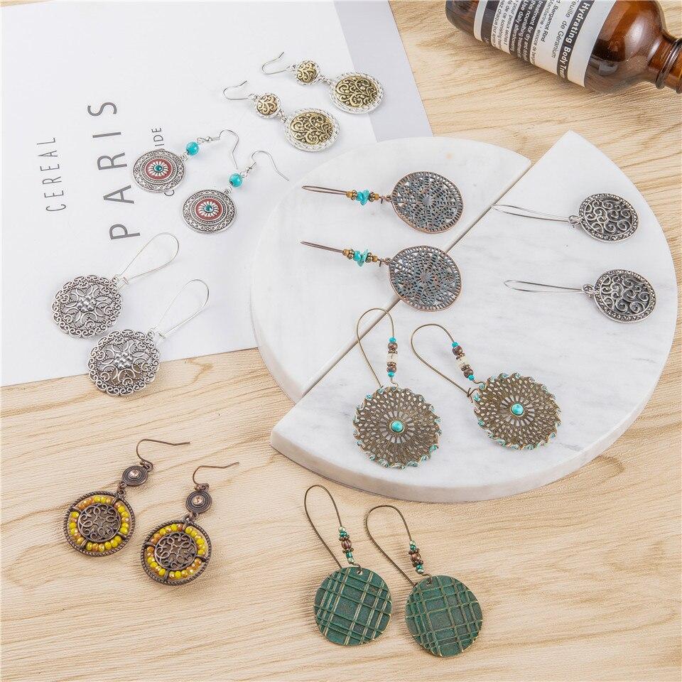 2019 new bohemian Round version of the earrings female models stones acrylic pendant earrings women ethnic big geometric jewelry wholesale (6)