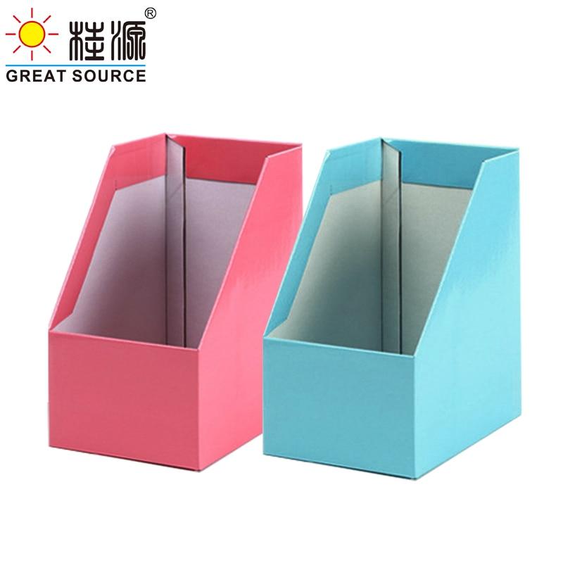Big Size Magazine Bookend Foldaway File Holder Colorful Newspaper Box Desk Top Corrugated Organizer Office Stationery (8PCS)