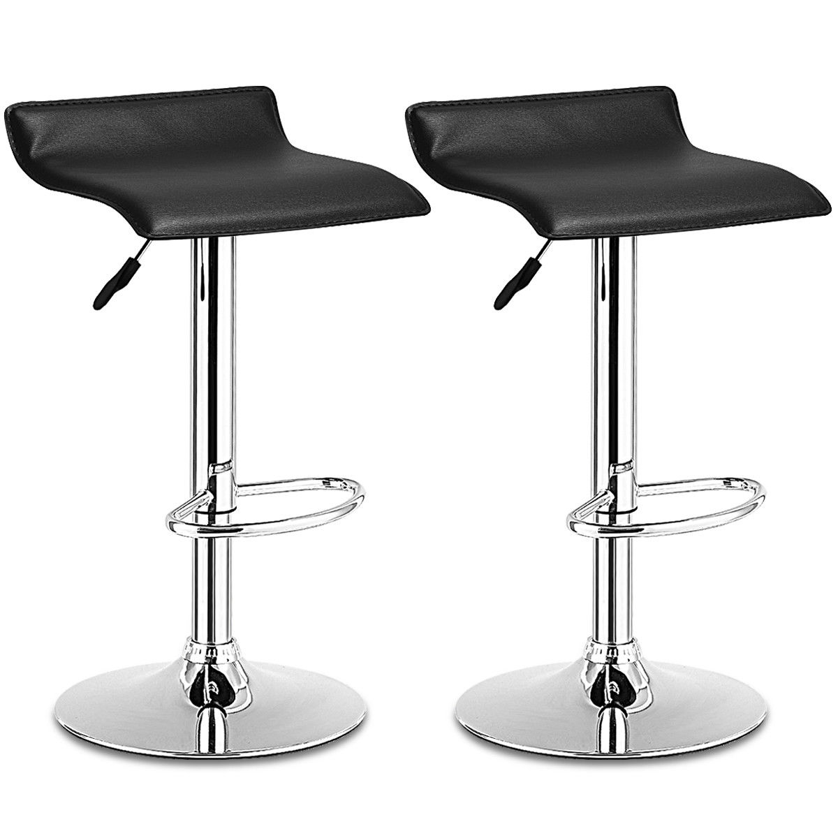 Costway Set Of 2 Swivel Bar Stools Adjustable PU Leather Backless Dining Chair Black