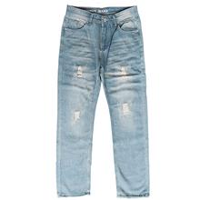 Jungle zone 2018 nowe męskie jeansy moda porwane jeansy trend dżinsy z dziurami mężczyźni jasnoniebieski kolor dżinsy k001 cheap Zipper fly HOLE Stałe Proste Udzielenie Zniszczyć Mycia Medium Stonewashed REGULAR Na co dzień Midweight Pełnej długości