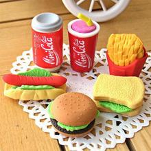 6pcs/Pack Cute Imitation Food Erasers Hamburger French Fries Hot Dog Sandwich Eraser Office Study Correction Supplies
