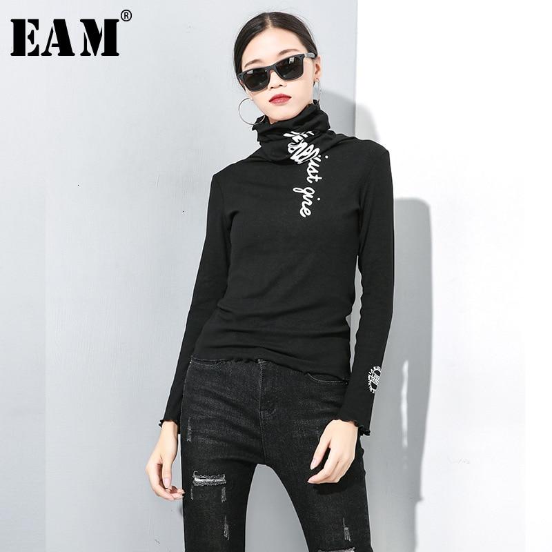 [EAM] Women Letter Print Split Temperament T-shirt New High Collar Long Sleeve  Fashion Tide  Spring Autumn 2020 19A-a141