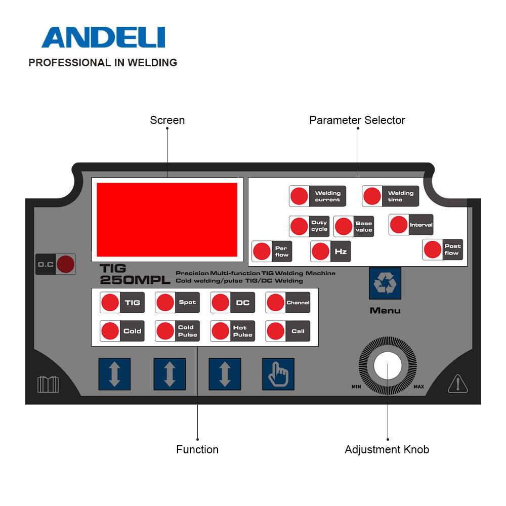ANDELIอัจฉริยะTIGเครื่องเชื่อมTIG-250MPL 220Vเครื่องเชื่อมTIGเย็น/PULSE/ TIGเชื่อมเย็นเชื่อมเชื่อมอินเวอร์เตอร์Tig