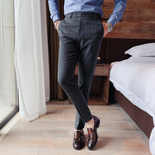 British Style Business Casual Men Plaid Pants Dress Formal Wear Slim Fit All Match Fashion Straight Gentlemen Office Trousers 36