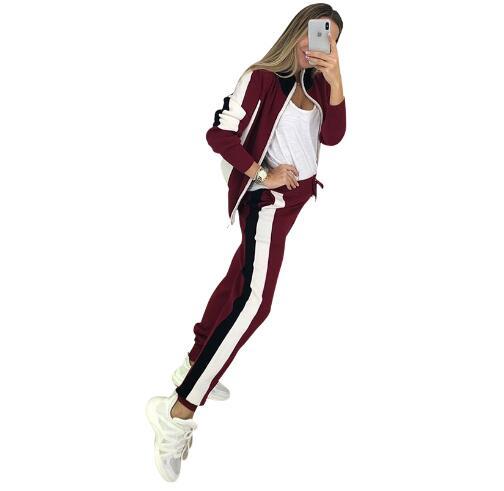 Femmes Zip pull + pantalon crayon costumes automne rayure couture manches longues Cardigans pantalon tricoté 2 pièces ensembles femme bleu - 5