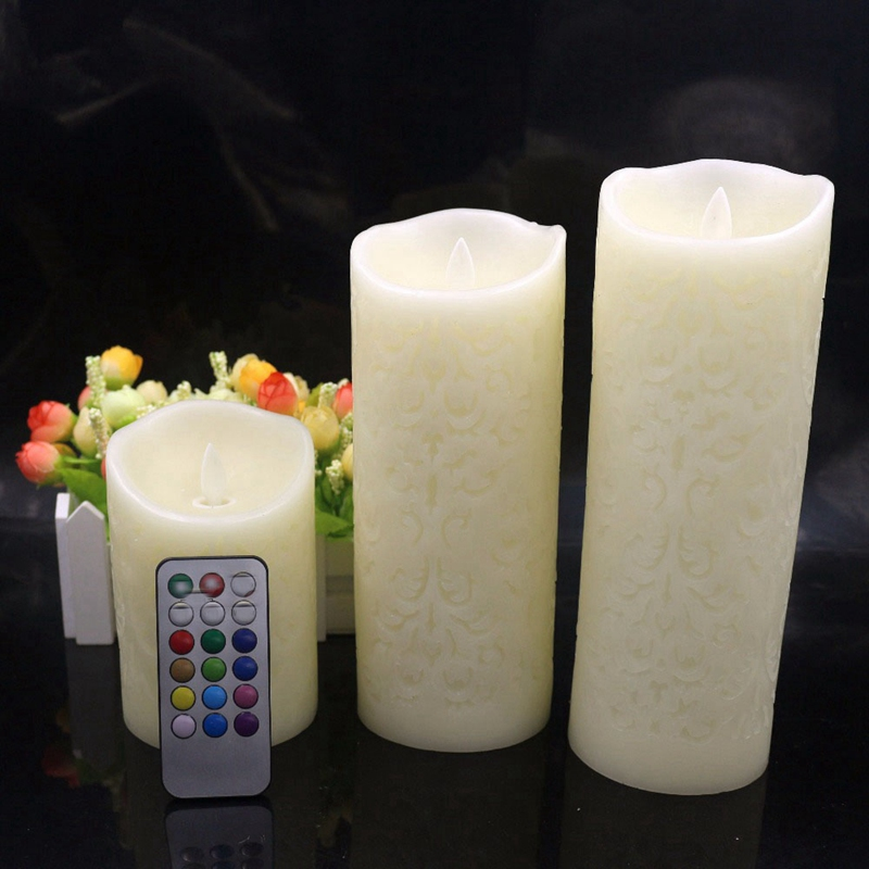 3Pcs Color Change Gradient Led Candles Remote Control Electronic Flameless Breathing Candle Night Lights Wedding Party Decoratio