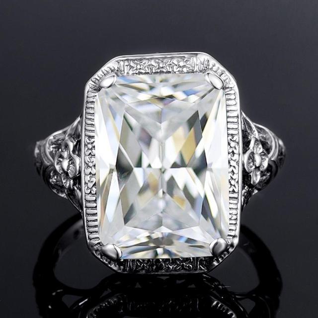 Фото серебряное кольцо для женщин свадебные обручальные кольца прямоугольник