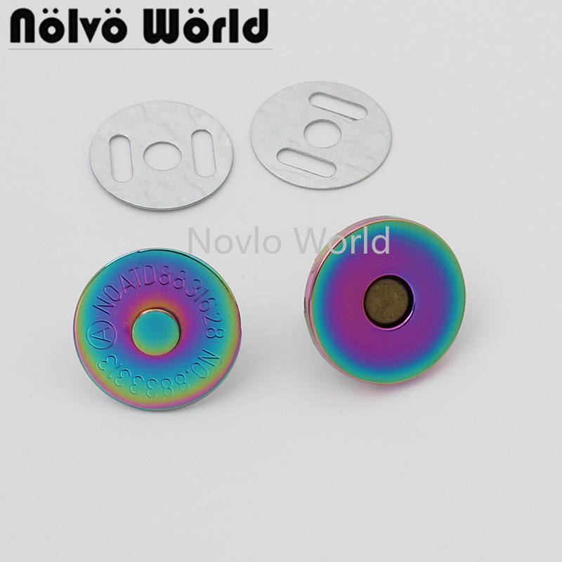 Bouton magnétique Invisible en métal arc-en-ciel, 2 tailles 18x2mm 18x4mm, 3/4 pouces, 10-50 pièces, pour sac à bandoulière DIY