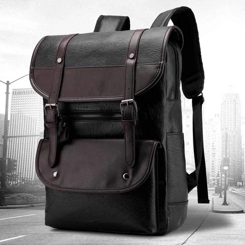 Leather Vintage Backpack Men Travel Men's Leahter Bagpack Laptop 14 Inch Notebook Back Pack Male School Bags Business Mochila