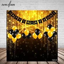 Sensfun Bokeh Gold Black Balloons Happy Birthday Party Backgrounds For Men Women Photography Backdrop Customized 10x10ft Vinyl