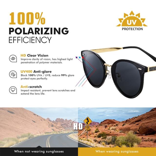 Фото круглые поляризованные солнцезащитные очки lioumo для женщин