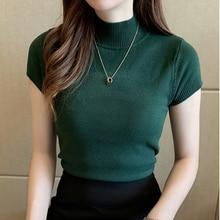 Fashion Knitt Short-sleeved T-shirt Women 2021 New Half Turtleneck Stretch Knitted Tshirt Solid Casual Spring Summer Female Tops