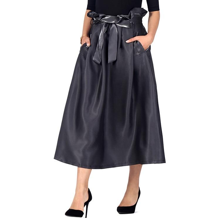 Europeu e americano saia preta verão outono saia guarda-chuva saia cor sólida renda saia feminina saias longas para mulher ph6865