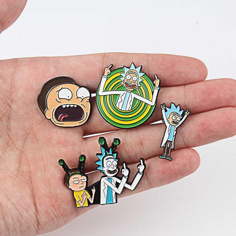 Rick en Morty Cartoon Stijl Broche Anime Liefhebbers Shirt Pins Denim Jassen revers Badge Knop Emaille pin Mannen Vrouwen Sieraden gift