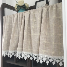 GOLDEN WONDER Pastoral Coffee Curtain Short Half Kitchen Partition Cotton Linen Window Door Curtains