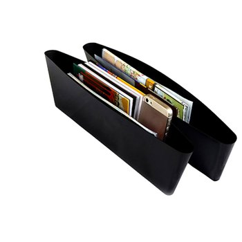 Black Car Storage Box Gap Filler Plastic Console Pocket Organizer Interior Accessories Car Seat Side Drop Caddy Catcher Hot Sell image