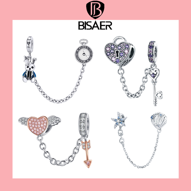 BISAER 925 Sterling Silver Pave Inspiration Star Safety Chain Clear CZ Stopper Charms Fit Bracelet DIY Bead for Jewelry Making 2