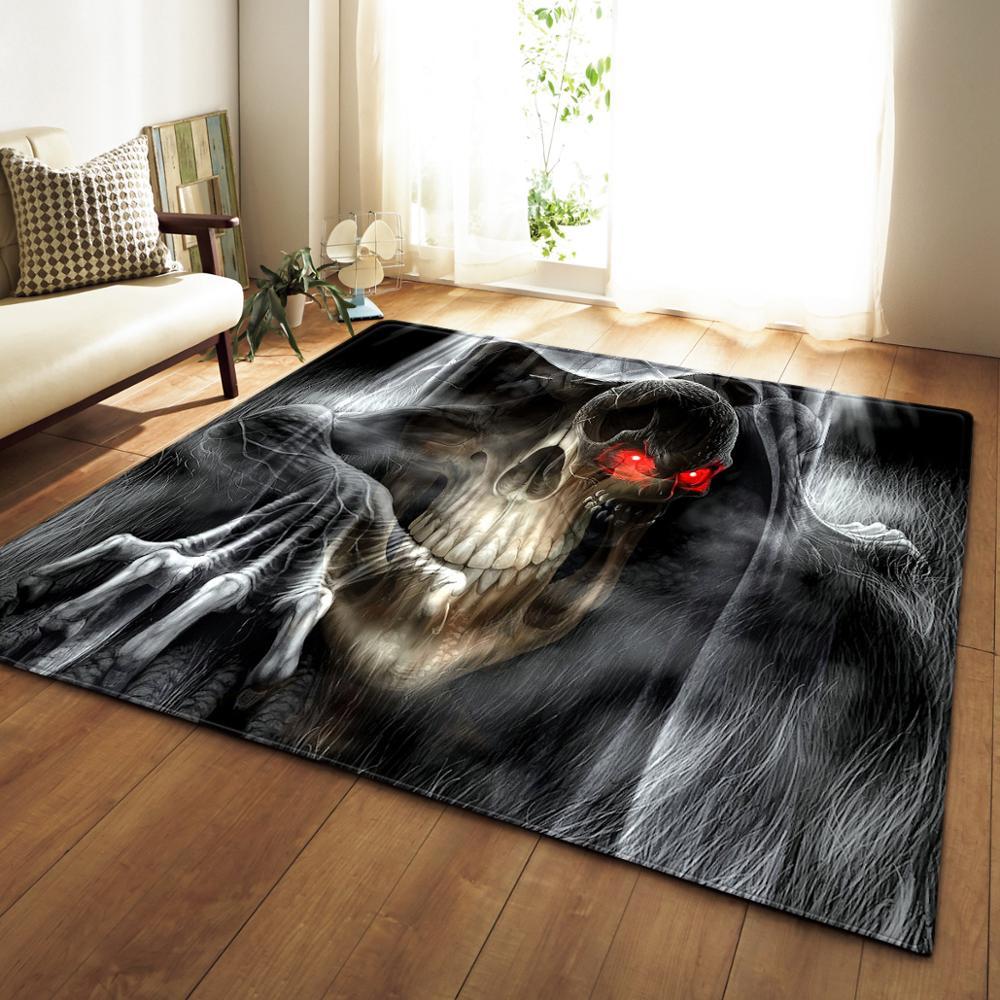 3D imprimé crâne doux flanelle grand tapis anti-dérapant tapis de sol tapis moderne pour salon enfants chambre tapete décor à la maison