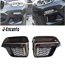 For BMW X3 G01 X4 G02 Front Fog Light Cover Grille Trim Accessories  M Sport Grille Style 2018 2019  X3 X4 G01 G02 for 2018 all new bmw x3 g01 x4 g02 3d m motorsport stripe front grille trim strips decoration grill cover clips stickers