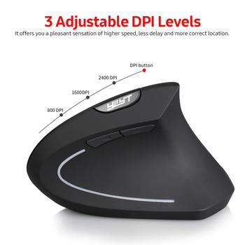 YWYT 2 4G bezprzewodowa mysz pionowa ergonomiczna mysz pionowa myszka pionowa mysz optyczna 3 regulowane poziomy DPI Plug amp Play Black tanie i dobre opinie Arealer CN (pochodzenie) 2 4 ghz wireless NONE