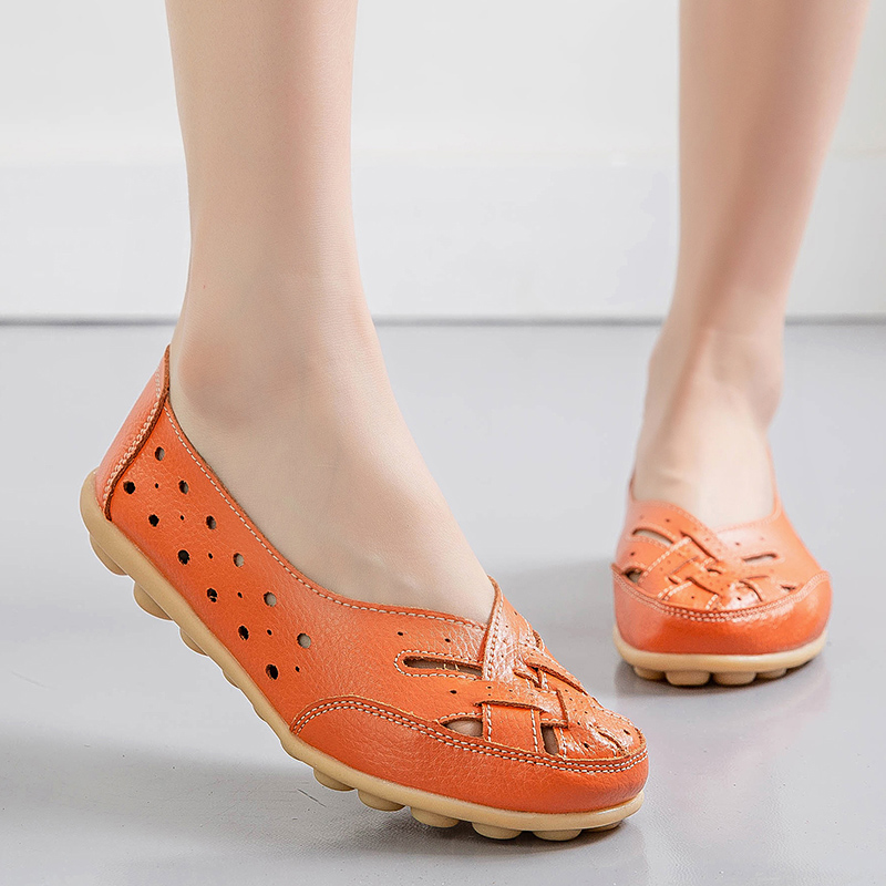 2020 Woman Slip On Flats Female Hollow Out Shoes Women's Round Toe Ladies Breathable Loafers Women Comfortable Footwear