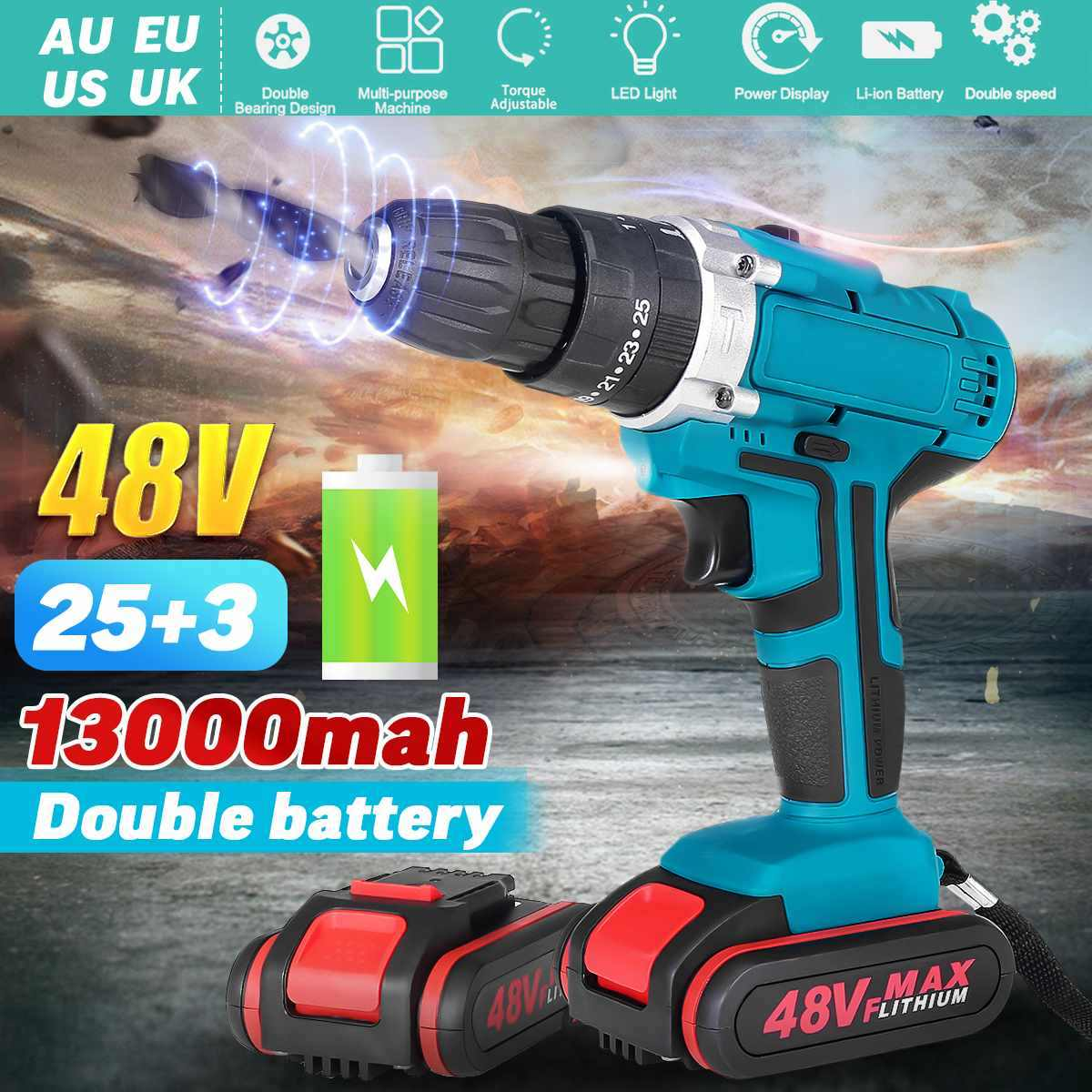 25+3 Torque 48V Cordless Electric Impact Drill Li-ion Battery LED Working Light Screwdriver DIY Home Hand Flat Drill Power Tools