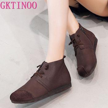 GKTINOO New 2019 Autumn Fashion Women Genuine Leather Boots Handmade Vintage Flat Ankle Botines Shoes Woman Winter botas