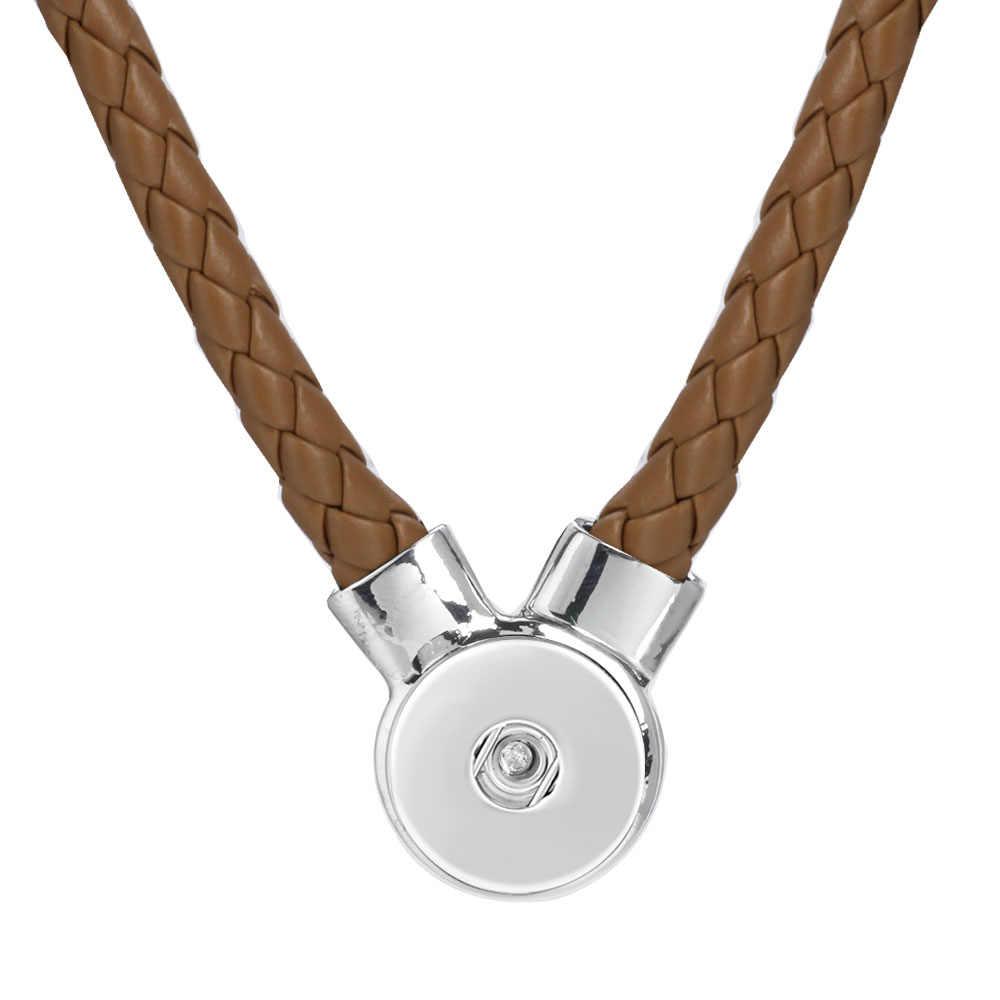 Gran oferta collar de botón a presión de cuero 13 colores de cuero trenzado 18MM colgante con broche Collar para Mujeres Hombres botones joyería