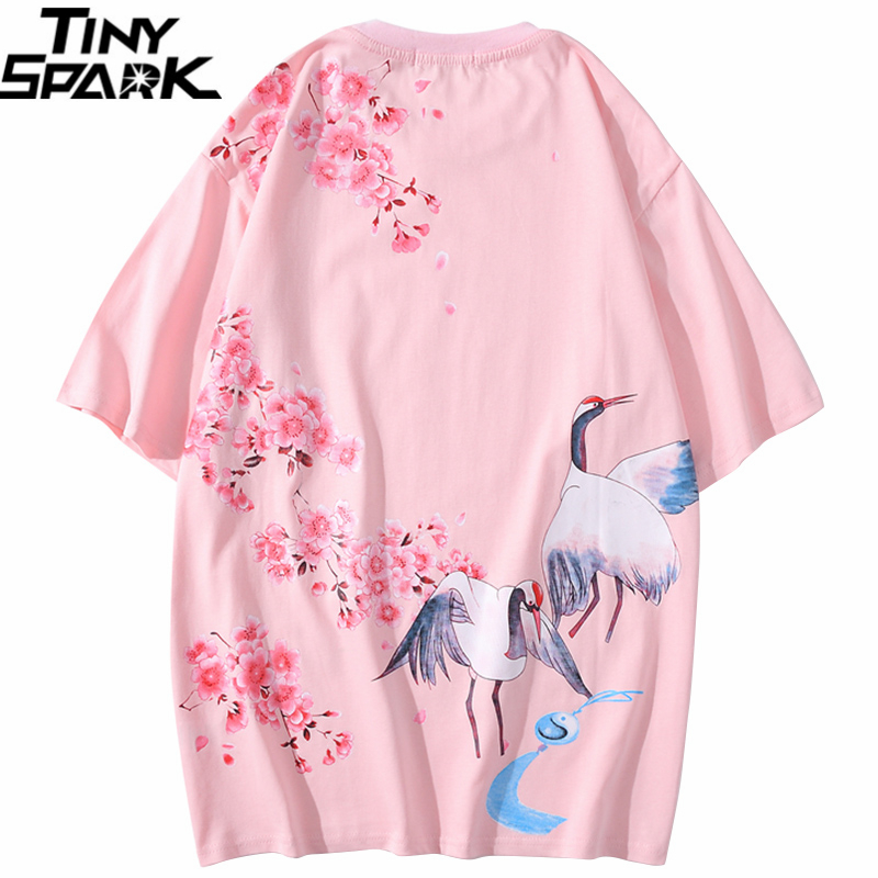 2020 Men T Shirt Hip Hop Streetwear Japanese Sakura Crane Tshirt Harajuku Summer Short Sleeve T-Shirt Cotton Tops Tees Pink New